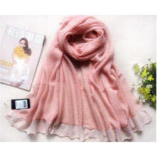 Large Size Crumple Polyester Voile Pink Scarf