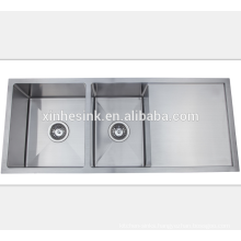 UK Double Bowl Undermount Kitchen Handmade Stainless Steel Sink with drainer
