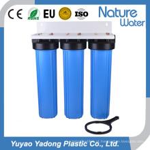 Uso industrial grande do filtro de água azul de 3 fases