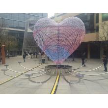 Moderne große Kunst Herzförmige Edelstahl Licht Skulptur für Outdoor Dekoration