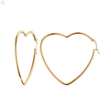 Women Large Big Gold Fashion Heart Hoop Earrings