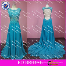 ED Bridal Sexy sem mangas Open Back Lace Appliqued Emeraled Green Evening Dress Long 2017
