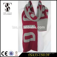 Hilado grueso hecho punto cálido simple diseño acrílico fútbol bufanda fanático OEM servicio regalo scarvess feliz navidad