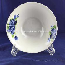 Tazón de sopa de cerámica de porcelana de forma de flor