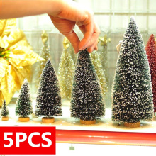 5pcs Decorated small Christmas Cedar pine on sisal silk Blue-green  gold  silver and red mini Christmas tree ornaments