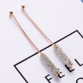 Rose Gold einfache funkelnde Strass Drop Ohrringe