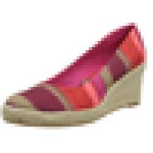 2015 Latest Design fashion sexy girls high heel woman shoe wedge stripe sandal shoes four colors
