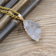 Fashion druzy natural stone Necklace mini oval natural amethyst druzy pendant with gold thin chain necklace