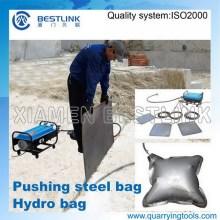 Pedreira de mármore uso hidro sacos para bloco empurre para baixo emprego