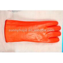 Isolierte Winter-Orangen-PVC-Handschuhe