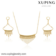 63900 xuping nouveau gros bijoux de mode plaqué or collier de mariée et boucle d'oreille
