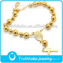 Vacuum Catholic Medal Stainless Steel Gold Bracelet Rosary Bead St. Benedict Holy Cross Bracelet Our Lady of Guadalupe Bracelet