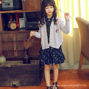 Reine Farbe Langarm Strickwaren Kinder Mädchen Strickjacke Hersteller