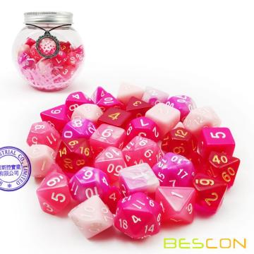 Bescon Polyhedral RPG Dice Full 35pcs Blossom Set, DND Role Playing Game Dice 5X7pcs