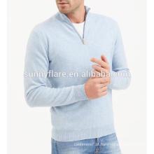 Camisola de cashmere ajustada para homens de alta qualidade com fecho de correr Half Front