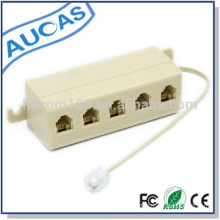RJ11 5 Way Outlet Modular Jack Telephone Cable Adapter Splitter Connector Cable