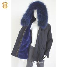 Factory Price Navy Genuine Raccoon Winter Fur Women Coat