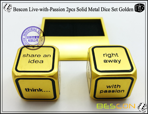 Bescon Live-with-Passion 2pcs Solid Metal Dice Set Golden-4