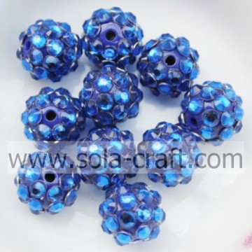 Neue Design blau Acrylharz Strass Spacer Perlen 10 * 12MM
