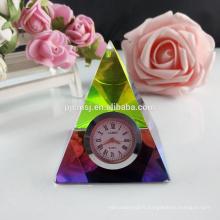Horloge de bureau grand cristal personnalisé élégant pour la décoration de table et cadeau de souvenir
