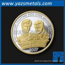 Kundenspezifische Andenken-glänzende Goldsilber-Farben-Hochzeits-Münze