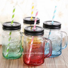 500ml 16oz Fancy Colored Drinking Glass Mason Jar with Handle and Straw