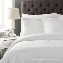Conjuntos brancos da tampa de Doona do hotel do tamanho da rainha do algodão do poliéster de 4 partes