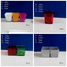 Colored Square Glass Candle Jar Glass Candle Holder Painted Glass Jar