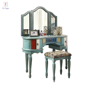 Hot Sale Girl Dressing table Mirror Furniture Amerian style bedroom dresser