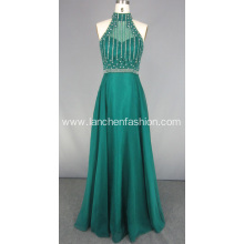Green Beading Rhinestone Floor Length Dress