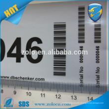 Tipo de etiqueta adesiva e aceita ordens personalizadas Etiqueta de código de barras do recurso anti falso