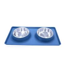 Dog Bowls Edelstahl Hundenapf ohne Verschütten Rutschfeste SCHWARZ Silikon Mat