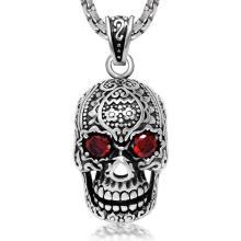 Joyería colgante del acero inoxidable 316L del collar del zircon del cráneo gótico