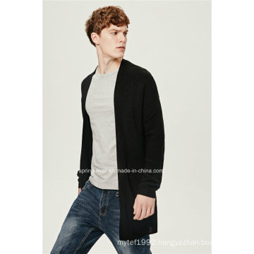70%Acrylic 30%Wool Dropped Shoulder Men Long Cardigan