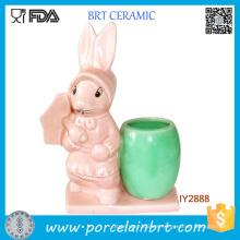 Cute Easter Uncle Bunny Flower Pot Mini Jardinera de escritorio de cerámica