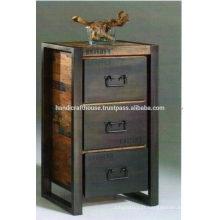 Métal industriel et bois avec 3 tiroirs Cabinet