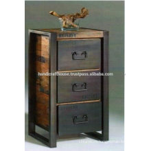 Industrial Metal and wood with 3 drawer Cabinet