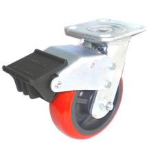 EH07 Roulette pivotante PU avec double frein (rouge vif)