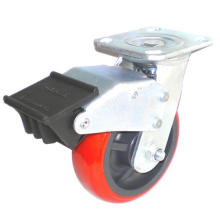 EH07 Swivel PU Caster with Dual Brake (Bright Red)