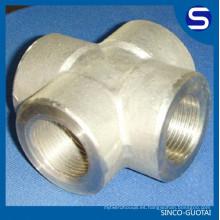 ASME B16.11 acero inoxidable 3000 # cruz de tubería de acero forjado