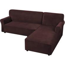 Textiles para el hogar Fundas de sofá en forma de L teñidas en esquina de terciopelo Fundas de sofá seccionales antideslizantes