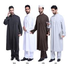 High quality pure color dubai muslim abaya and pants set muslim men abaya