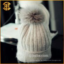 Heißer Verkauf preiswerter Preis Kaschmir Beanie Fox Pelz Bobble Hut