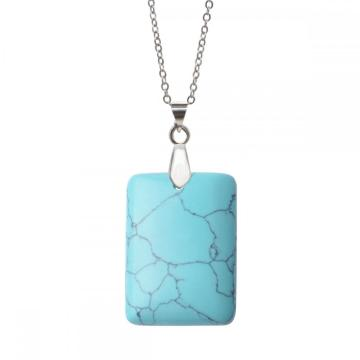 Turquoise Rectangle Gemstone Pendant Neckalce