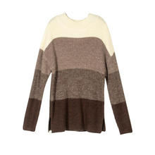 Women's Sweaters Casual Crewneck Color Block Patchwork Pullover Knit  Tops