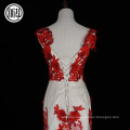 Eco-friendly design fashion flower latest red formal dress patterns