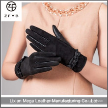 ZF5125 Wholesale women wearing leather gloves suede leather gloves