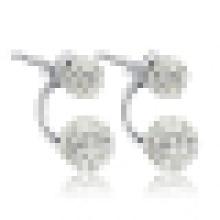 Women′s 925 Sterling Silver Double Bead Stud Earrings