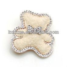 Adorável broche tecido de urso com rhinestone