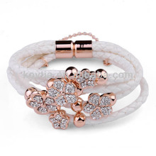 Derniers produits 2016 Bracelet en cuir de couleur blanche Bracelet en or à la main chinoise